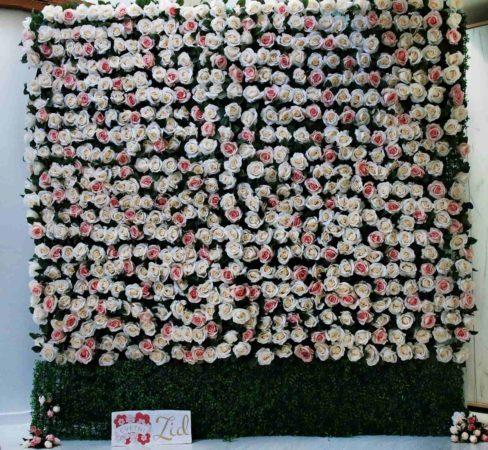 cvetni zid belo roze ruze